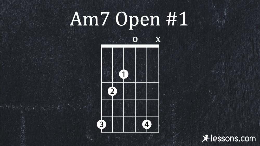 Am7 Guitar Chord The 10 Best Ways To Play W Charts Lessons Com The am7 chord shown here is a smooth, thick, beautiful sounding chord when the 7th is inside the chord. am7 guitar chord the 10 best ways to
